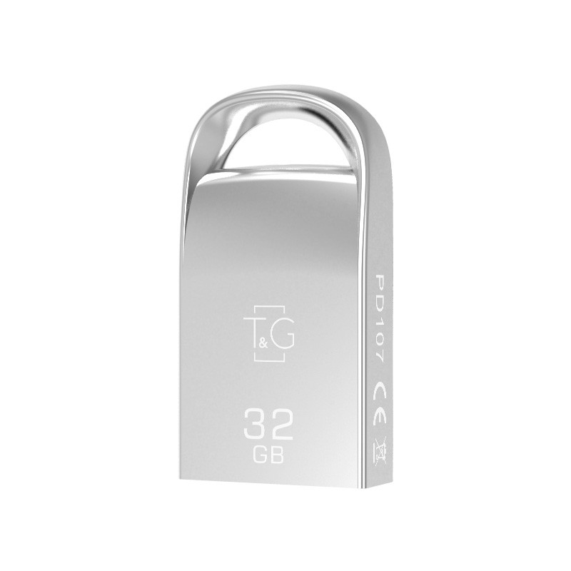 Флэш-память T&G (TG107-32G), 32 Gb, 107 Metal series, USB 2.0, Metallic
