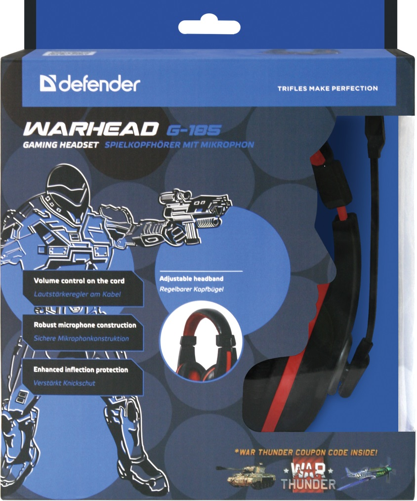 Гарнитура Defender Warhead G185 (G185), Black